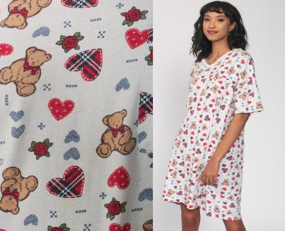 Nightgown Pajama Dress Teddy Bear HEARTS Shirt Dress Nightie 90s Graphic Retro Tshirt 1990s Top Kawaii Mini Small Medium Large