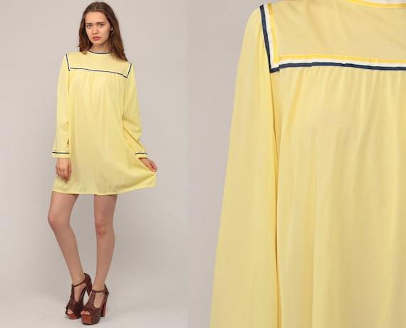 70s Nightgown Lingerie Slip Dress Yellow Pajamas Lingerie BELL SLEEVE Mini Nightie Boho Tent Lounge Dress Vintage Night Gown Large