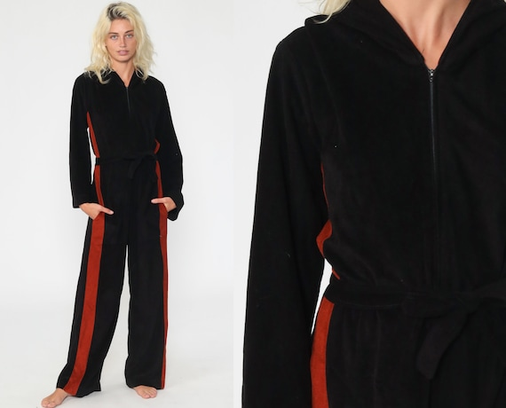 Hooded Jumpsuit 70s Bell Bottom Pants Black Velour Suit Hoodie Boho Hood Hippie Wide Leg 1970s Front Zip Up Vintage Pantsuit Medium Large