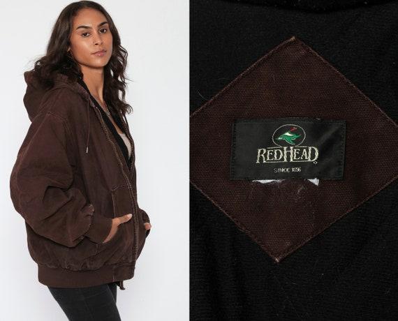 Hooded Jacket Workwear Jacket 90s Cotton HOODED Grunge Dark Brown Hood Vintage Zip Up 1990s Work Wear Plain Streetwear Extra Large xl 2xl