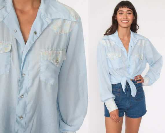 Pastel Western Shirt 70s Floral Shirt Baby Blue To