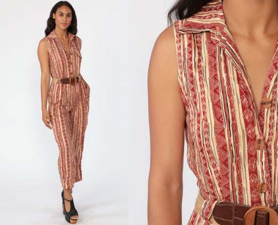 Tribal Tapered Jumpsuit 90s Striped Playsuit High Waisted One Piece Pantsuit Red Vintage Sleeveless Button Up Romper Pants Extra Small xs