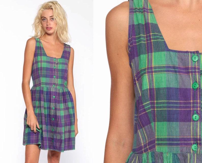 0c9ecd3edd Plaid Jumper Dress Green Purple Grunge Mini Dress 90s Button