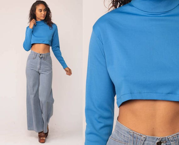 Crop Top 70s TURTLENECK Shirt Bright Blue Retro Shirt Long Sleeve Shirt Tee Mod Top Nerd Geek Hipster Tshirt Cropped High Neck small Medium