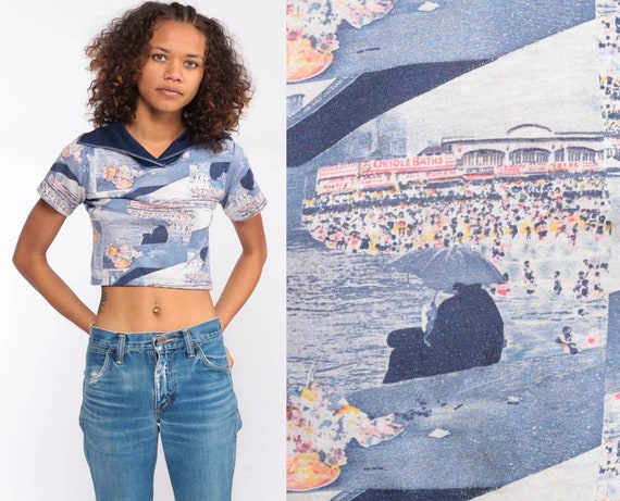 70s Coney Island Shirt -- Novelty Print Top Retro Tee Crop Top Graphic Boho TShirt 1970s Hippie T Shirt Bohemian Vintage Extra Small xs xxs