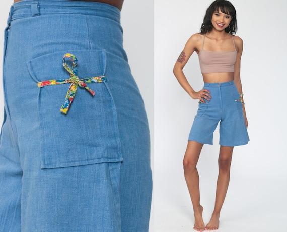 Chambray Shorts 70s Wide Leg Shorts High Waist Cotton Hippie Boho Shorts Blue High Rise Shorts Vintage Retro 1970s Shorts Extra Small XS 0