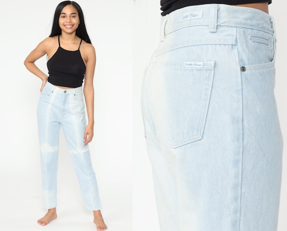 Bleach Dyed Mom Jeans 27 Faded Skinny Jeans High Waist Jeans 80s High Waisted Denim Pants 90s Vintage Light Blue Small