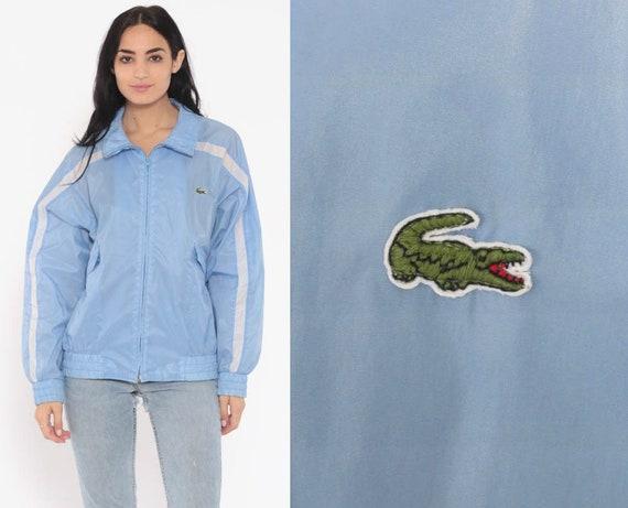 Lacoste Windbreaker Jacket 80s Baby Blue Striped Jacket Crocodile Coat Vintage 1980s Wind Breaker Pastel Large