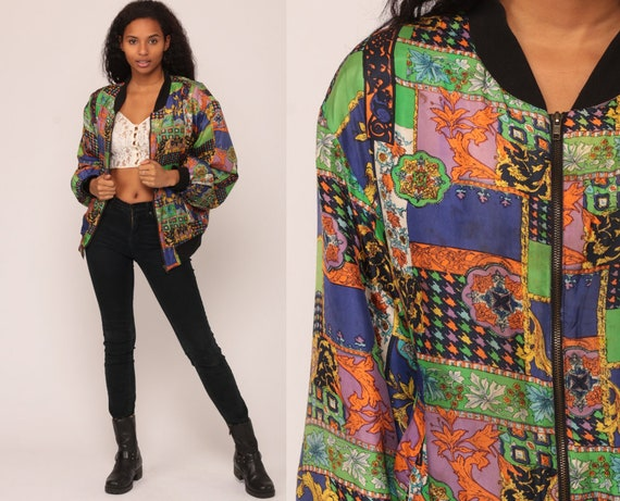 90s Windbreaker SILK Jacket Baroque Jacket Patchwork 80s Coat Slouchy Hipster Vintage Grunge Extra Large xl