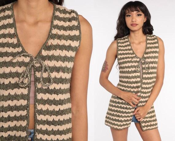 Crochet Vest Brown Cream Knit Top 70s Hippie Boho Vest Open Weave Sheer 1970s Vintage Bohemian Sleeveless Sweater Small