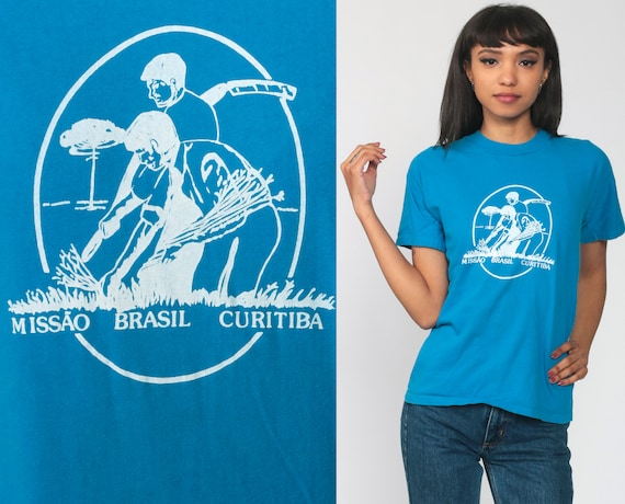 Curitiba Brazil Shirt Mission Retro TShirt Vintage T Shirt Brasil 80s Travel Thin Tee Graphic Blue Extra Small xs