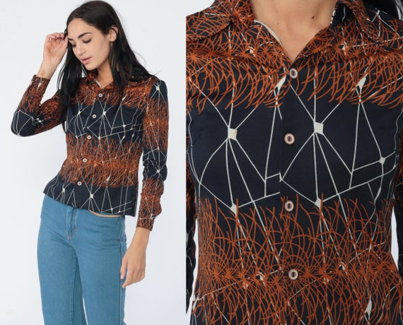 Hippie Shirt 70s Psychedelic Print Blouse Boho Disco Top 1970s Vintage Bohemian Button Up Long Sleeve Geometric Blue Brown Extra Small xs