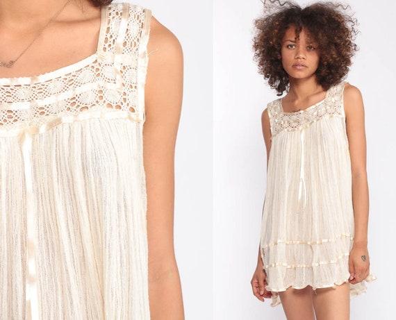 Bohemian Dress CROCHET Micro Mini Gauze White Tunic Top Tent Lace Gypsy Festival Hippie Boho Vintage Beach Cover Up Summer Medium Large