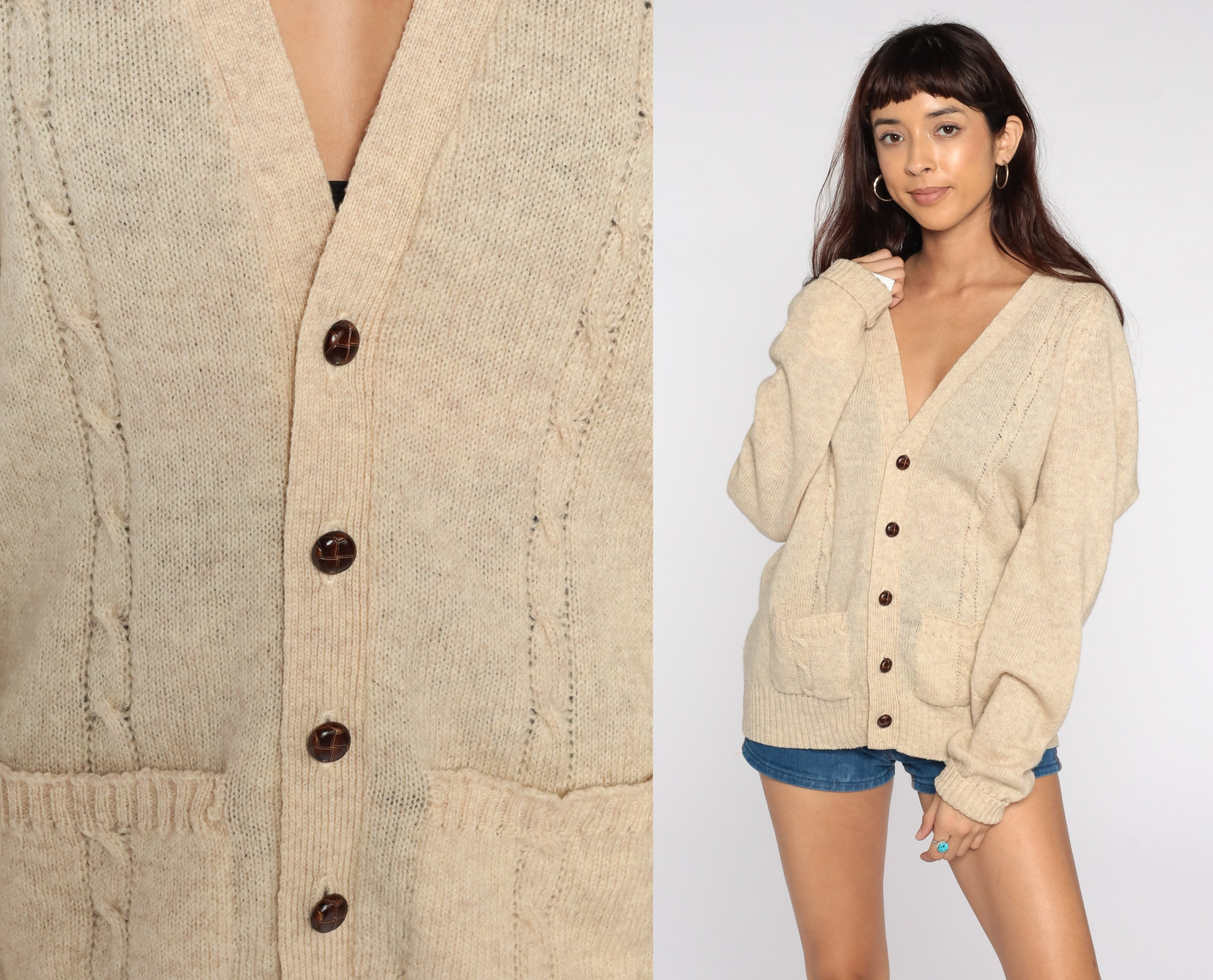 80s Sweatshirts, Sweaters, Vests | Women Cream Wool Cardigan Cable Knit Sweater 80S Boho Bohemian Fisherman Chunky Grandpa Vintage 1980S Button Up Cableknit Large Xl L $55.00 AT vintagedancer.com