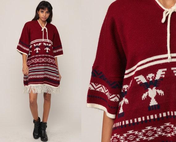 Poncho Dress Southwestern Dress Boho Hippie 70s Bohemian Mini Tunic Ethnic Knit Burgundy FRINGE Dress 1970s Vintage Festival Extra Large xl