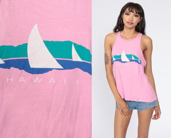Hawaii Tank Top 80s Pink Shirt Surfer Sleeveless Graphic Shirt Beach Vintage Singlet Small