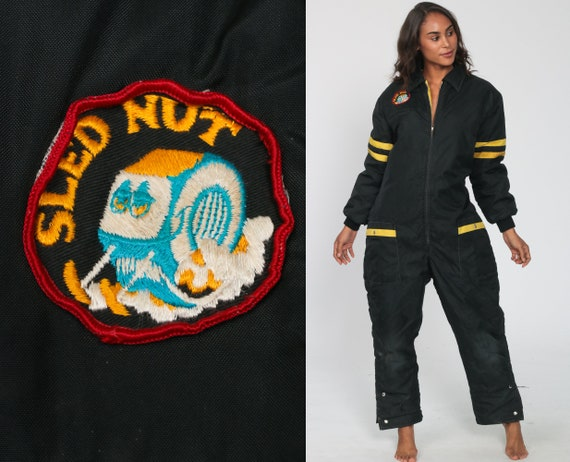 Vintage Ski Suit Sled Nut Patch Black One Piece Snowsuit 70s Puffy Snow Suit Puffer Coat Pants 1970s Puff Winter Sports Small Medium