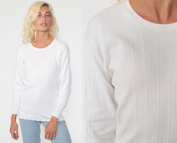 White Undershirt Jockey Shirt 80s Long Sleeve Undershirt 1980s Under Shirt T Shirt Underwear Retro Tee Layer Vintage Normcore Medium