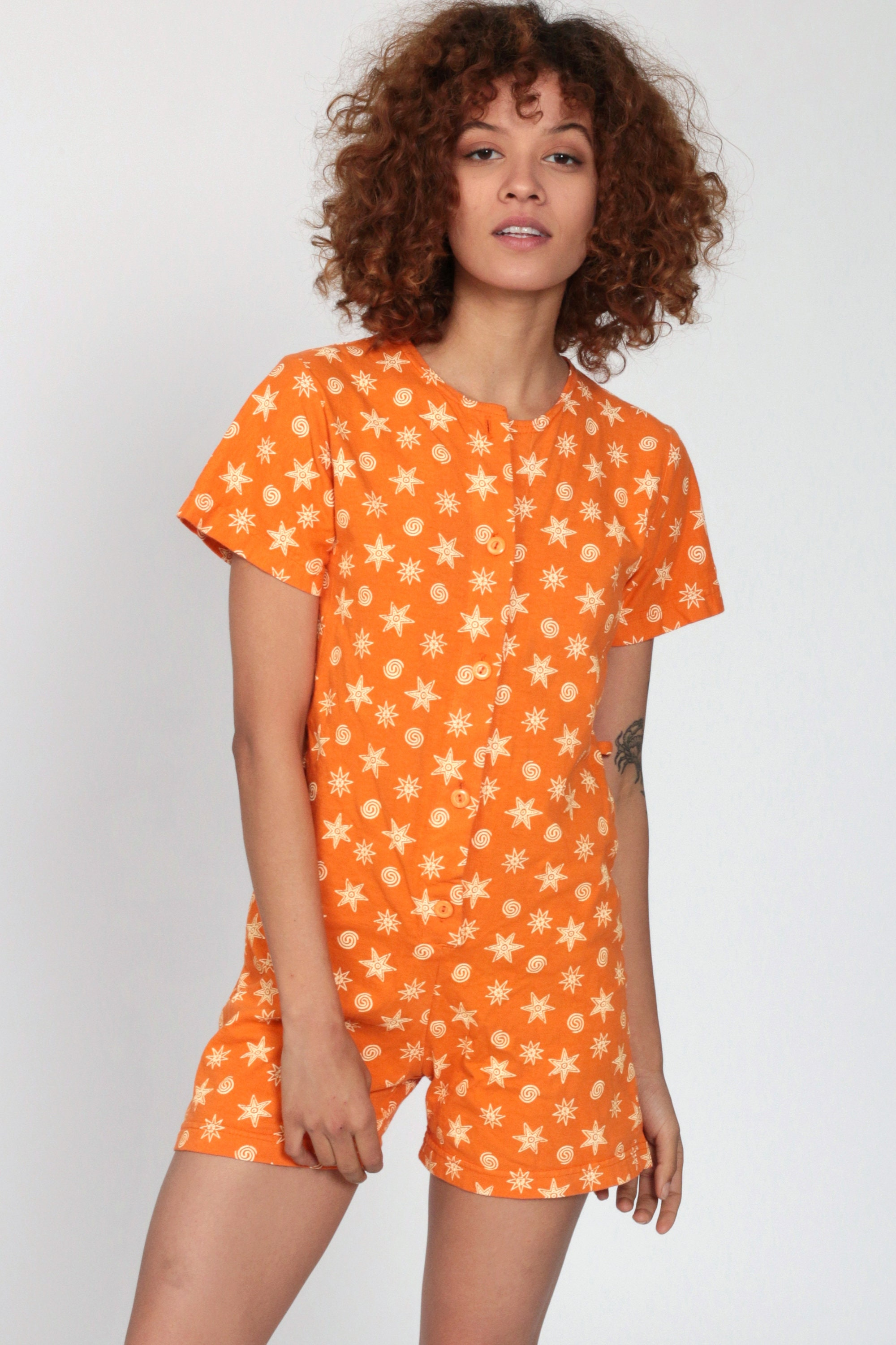 90s Playsuit Orange Star Romper Outfit One Piece Woman ...