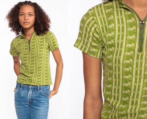 Green Floral TShirt -- 70s Shirt Boho Top Zip Up Hippie T Shirt Bohemian Retro Vintage Blouse Petite Extra Small xs xxs