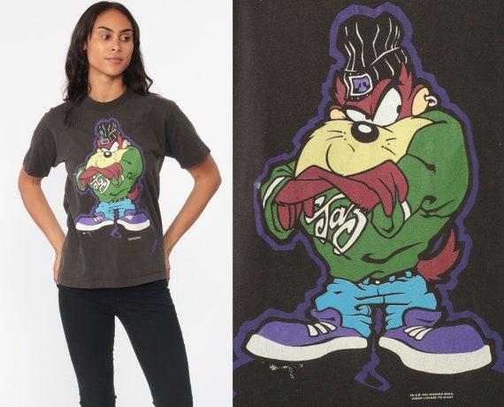 Taz Shirt 90s Looney Tunes Shirt Tasmanian Devil Tshirt Graphic Retro Black TShirt Vintage Tee Streetwear T Shirt Extra Small xs