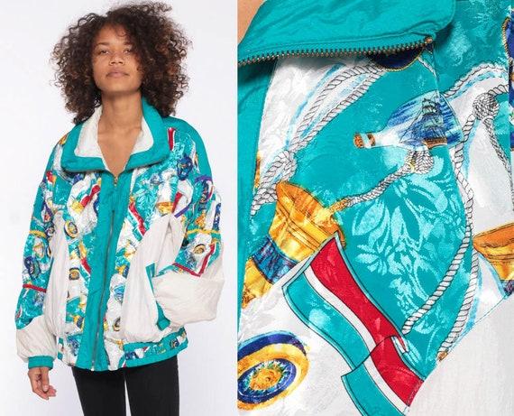 Nautical Baroque Windbreaker 90s Windbreaker Jacket -- Shiny Blue Jacket Color Block Print Sailor 1990s Streetwear Jacket Large