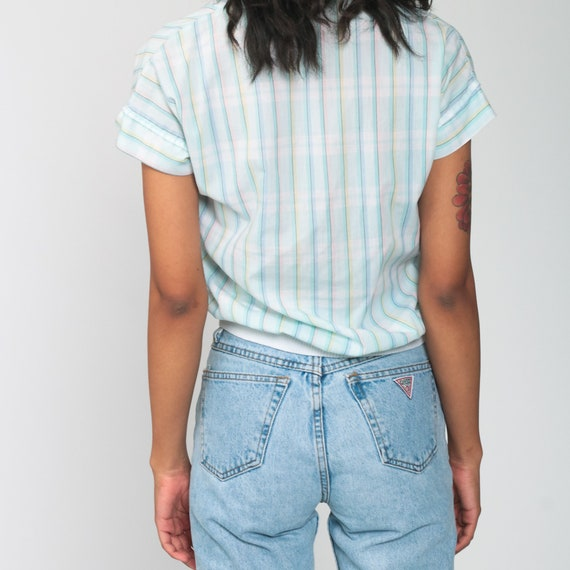 Pastel RAINBOW Blouse 80s Button Up Shirt Striped… - image 7