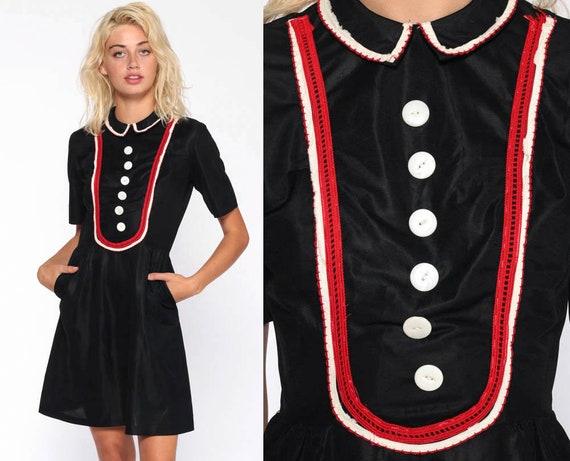 Mod Gothic Dress 60s Peter Pan Collar Mini Party Lolita Black Bib Goth Wednesday Addams Short Sleeve 1960s Vintage Shift Extra Small xs