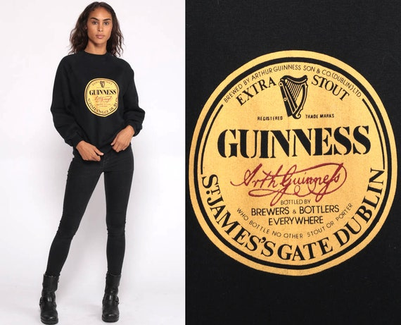 GUINNESS Sweatshirt Beer Shirt 90s Black Crewneck Raglan Sleeve Vintage Sweater Pullover Retro Slouch Streetwear Graphic Party Small Medium