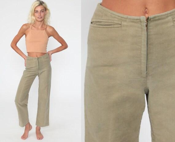 Fishing Trousers 24 -- 50s Pants Cotton Moleskin Pants Tan 60s Pants High Waist Menswear 1960s Boyfriend Pants Vintage Extra Small xs