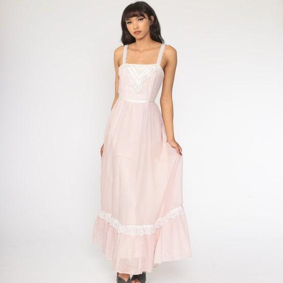 Gunne Sax Dress 70s Maxi PRAIRIE Baby Pink Butter… - image 2