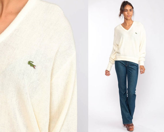 Cream Sweater Lacoste Sweater 80s V Neck Pullover Sweater IZOD Crocodile Slouchy Vintage 1980s Oversized Slouch Jumper Medium