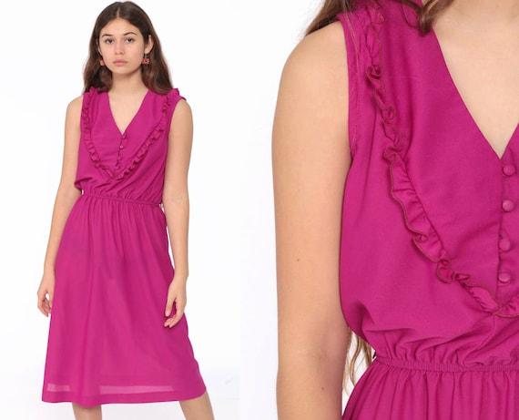Magenta Dress 70s Boho Midi Ruffle Neckline Disco Party Grecian High Waist 1970s Fuchsia Sleeveless V Neck Bohemian Small Medium