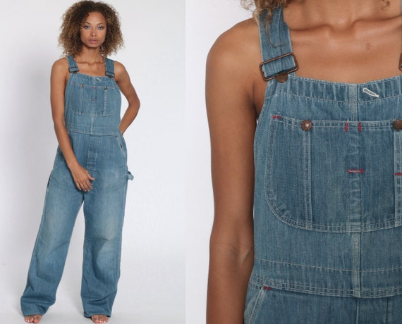 Big Mac Overalls Faded Workwear Blue Jeans 80s Denim Bib Overalls Pants Baggy Overalls Dungarees 1980s Vintage Work Wear Small Medium