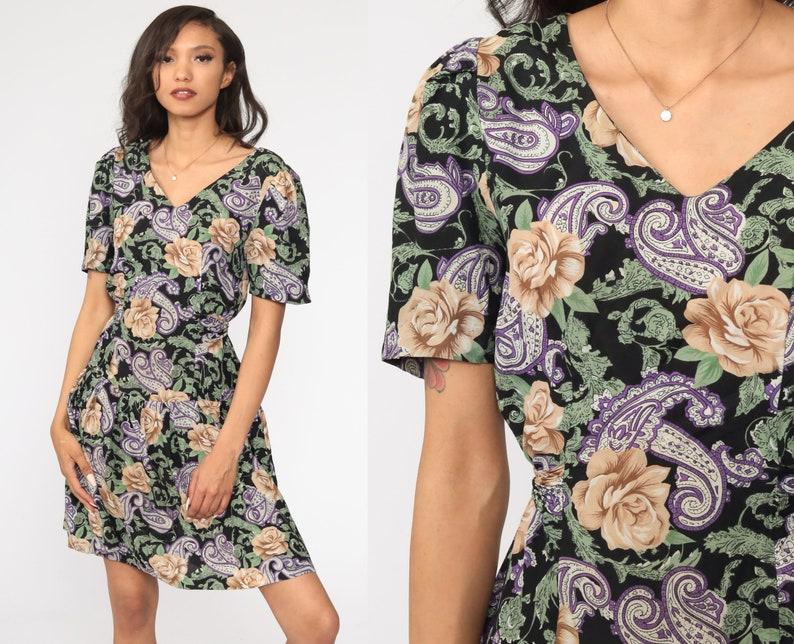 90s Mini Dress Floral Paisley Print Grunge DROP WAIST Boho Purple Black Deep V Neck Vintage Short Sleeve Medium