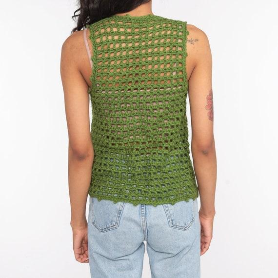 Crochet Vest Olive Green Knit Top 70s Hippie Boho… - image 7
