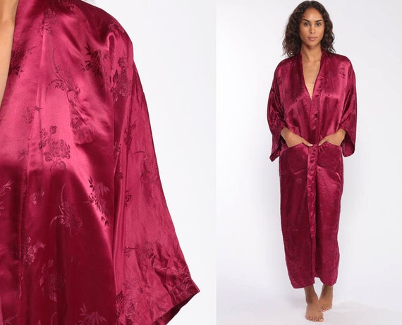 Burgundy Satin Robe -- Floral Asian Kimono Robe Jacket Embroidered Floral Print Dressing Gown Bohemian Wrap Small Medium Large xl