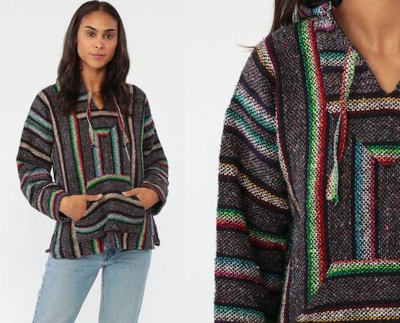 Neon Rainbow Drug Rug Baja Hoodie Mexican Sweatshirt Hippie Boho Hooded Ethnic Vintage Blanket Stripe Bohemian Kangaroo Small Medium