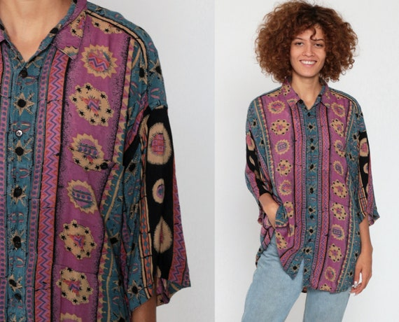 Celestial Button Up Shirt STARS Geometric Shirt Print 90s Grunge Oversize Short Sleeve Blouse Geometric Top Vintage Purple Blue Medium Large