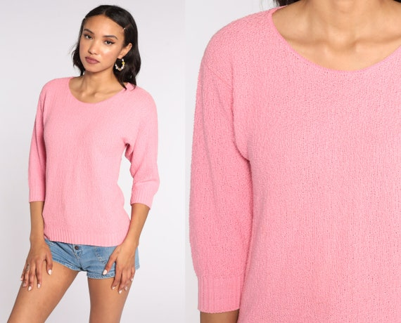 Pink Cotton Sweater 90s Sweater Slouchy 80s Grunge Pullover Plain 1980s Jumper Vintage Preppy Normcore Medium