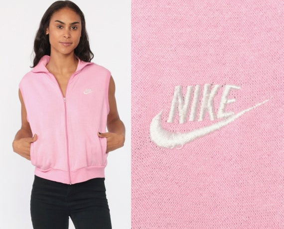 NIKE Vest Sleeveless Sweatshirt 80s Shirt Pastel Baby Pink Vest Top Zip Up Retro Vintage Vest Jacket 1980s Sportswear Zip Medium