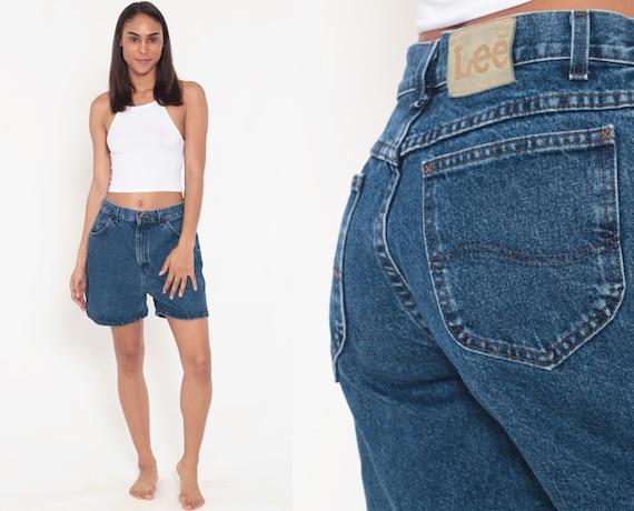 Dark Blue Denim Shorts LEE Jeans 1980s Jean Shorts High Waisted Blue Vintage Grunge Jean Shorts Pockets Summer Shorts Tomboy Medium 8 29