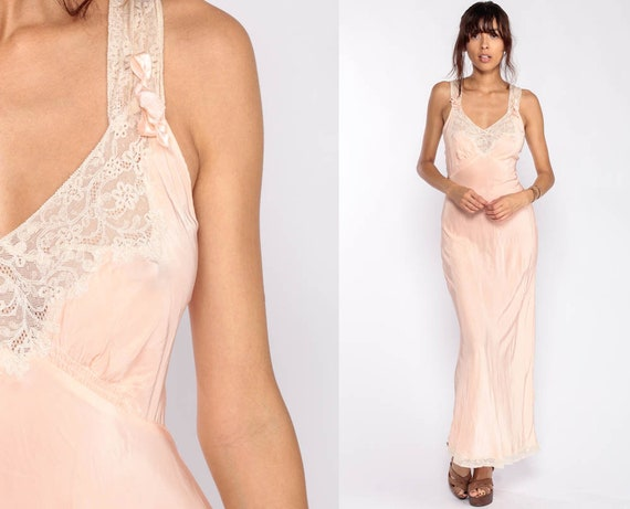 Vintage 1940s Lingerie Nightgown 32 -- Luxite Nightgown Peach Slip Dress Art Deco Negligee Woven Rayon Bias Cut 40s Boho Full Slip Small xs