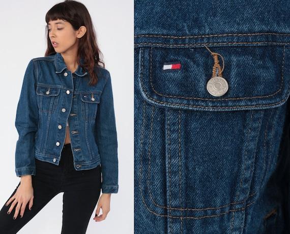 Tommy Hilfiger Jacket Denim Jacket 90s Jean Jacket Streetwear Dark Blue Tommy Jeans Button Up 1990s Vintage Street Wear Extra Small xs