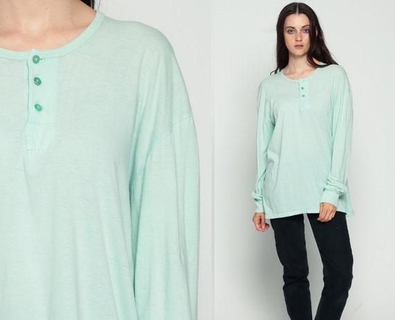 Pastel Long Sleeve Shirt Men's 44 -- Mint Green Tshirt 80s T Shirt Pastel 90s Grunge POLO Plain Tshirt Hipster Retro Tee Normcore Large