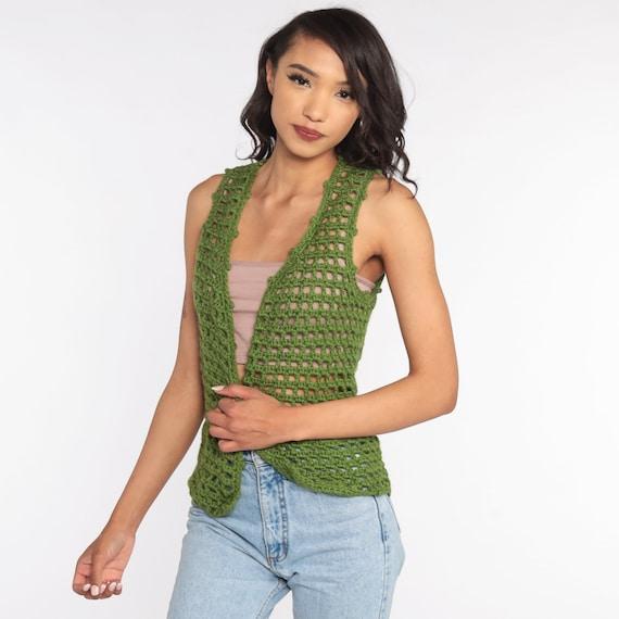 Crochet Vest Olive Green Knit Top 70s Hippie Boho… - image 2