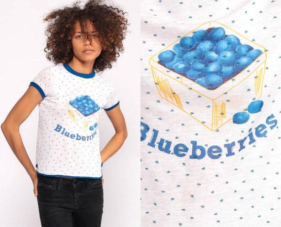 Blueberry Shirt Fruit Tshirt Ringer Tee Graphic Shirt Vintage 80s Tshirt Paper Thin Retro T Shirt Kawaii Berry Print Extra extra Small xxs