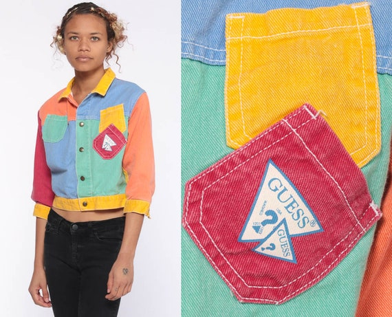 GUESS Jean Jacket xxs Color Block Rainbow Vintage 80s Denim Jacket Cropped Jacket Trucker Biker Button Up 90s Hipster Extra Small xs