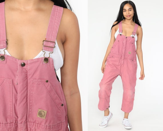 00s Pink Overalls Women 2000s Suspender Pants Baggy Bib Cargo Vintage Dungarees Coveralls Bernie Streetwear Extra Small xs Short