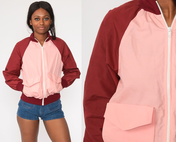 80s Windbreaker -- Baby Pink Pullover Jacket Burgundy Half Zip Pullover Color Block Raglan Sleeve Vintage 1980s Kangaroo Pocket Small Medium